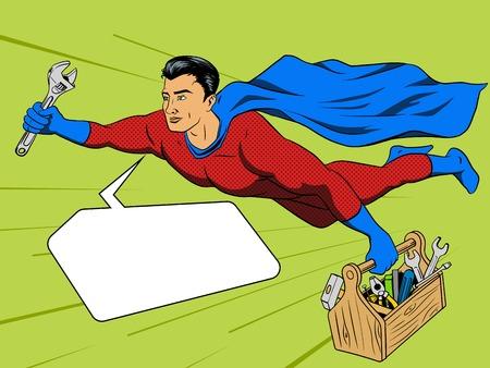 Superhero man with tool box comic book pop art retro style illustration