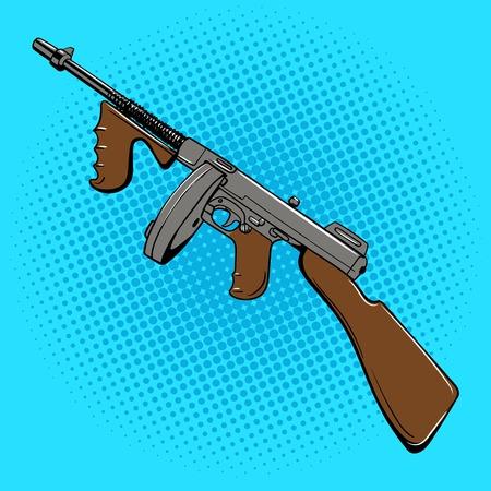 Automatic gun retro comic book style pop art illustration 일러스트