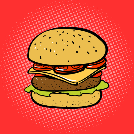 comic strip: Burger comic book style pop art vector illustration