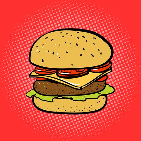 comico: ilustraci�n del arte pop del vector del estilo del c�mic hamburguesa