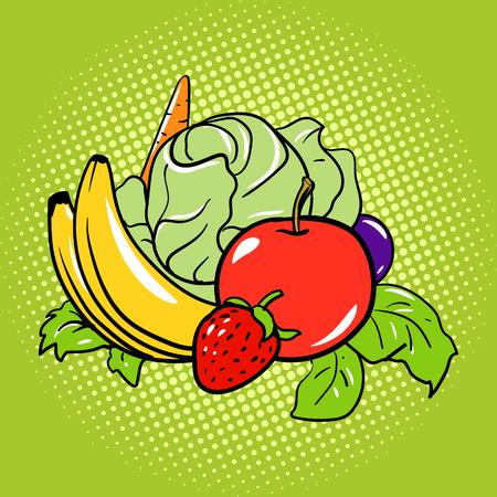 Healthy food vegetarian comic book pop art retro style illustration Illustration