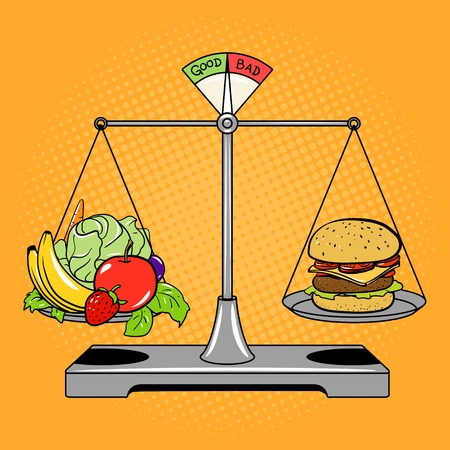 disadvantages: Balance scales with food comic book pop art retro style illustration