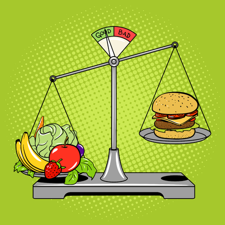disadvantages: Balance scales with food comic book pop art retro style vector illustration. Healthy food