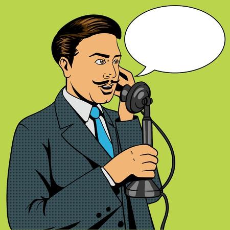 respectable: Man talking on the vintage phone pop art retro style vector illustration. Man and phone comic book imitation Illustration