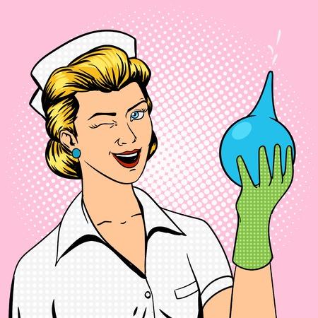 Verpleegster knipoogt met klysma pop art retro stijl illustratie Stock Illustratie