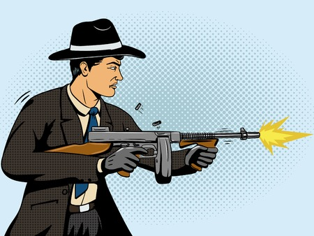 cartoon gangster: Gangster shoots machine gun pop art retro style illustration