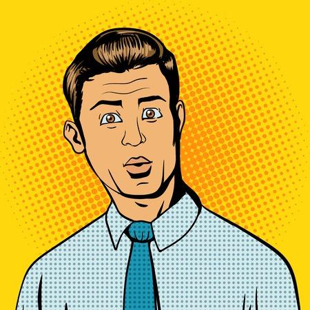 extrañar: Hombre sorprendido arte pop estilo retro ilustración Vectores