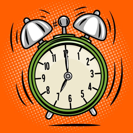 sign up: Alarm clock ring comic book pop art retro style vector illustratoin