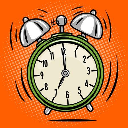despertarse: anillo reloj despertador de estilo retro del arte pop cómico libro illustratoin vectorial
