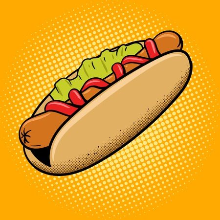 hot: Hot dog fast food pop art style vector illustration. Comic book style imitation Illustration