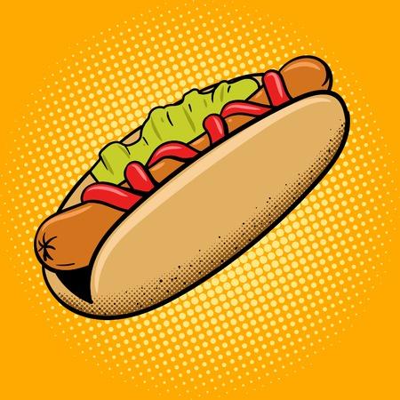 perro caliente: perro caliente estilo de ilustraci�n vectorial arte pop alimentos de preparaci�n r�pida. La imitaci�n del estilo del c�mic