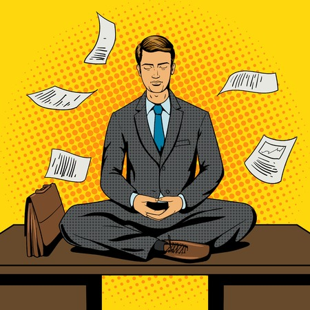 Businessman meditation cartoon pop art comic book style vector illustration. Comic book imitation Vettoriali
