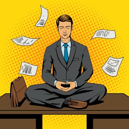 Zakenman meditatie cartoon pop-art comic book stijl vector illustratie. Comic book imitatie Stockfoto - 48361238