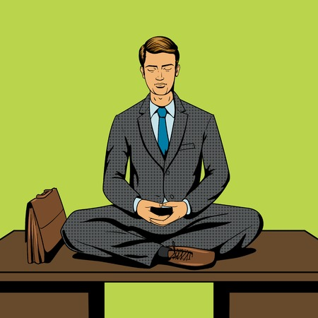 sitting at table: Businessman meditation cartoon pop art comic book style vector illustration. Comic book imitation Illustration