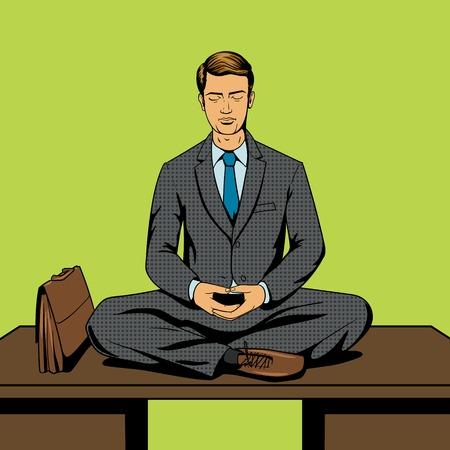 Zakenman meditatie cartoon pop-art comic book stijl vector illustratie. Comic book imitatie