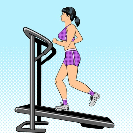 step fitness: Girl on treadmill pop art style vector illustration. Comic book imitation
