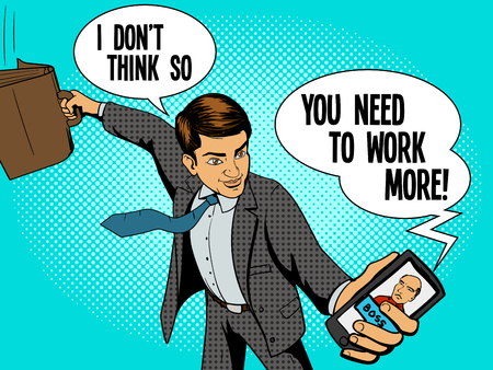 self employed: Office worker man talks with boss by phone pop art style. Vector illustration. Comic book style imitation Illustration