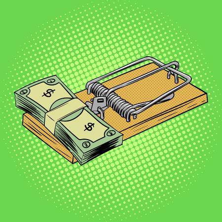 mousetrap: Mousetrap with money pop art style vector illustration. Comic book style imitation.