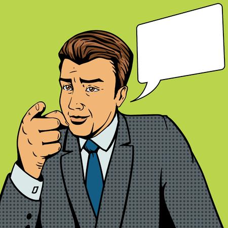 Man pointing forward by finger pop art style vector illustration. Comic book style imitation Ilustração