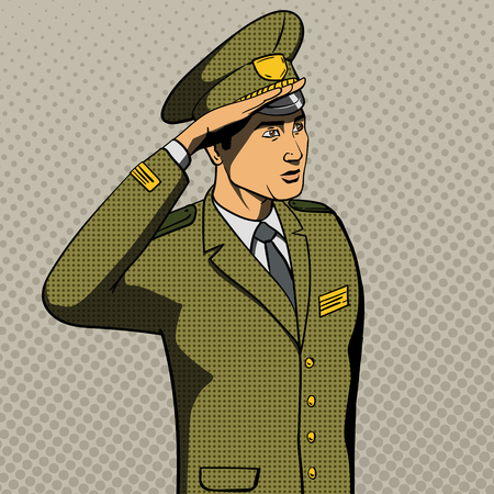 military man: Military man salutes pop art style vector illustration. Comic book imitation