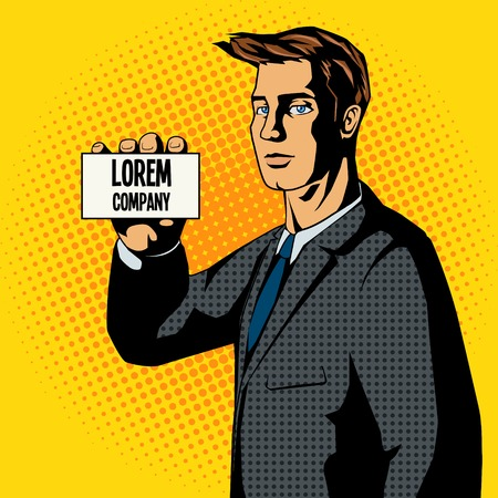 young business man: Businessman business card pop art style vector illustration. Retro style. Comic book style imitation