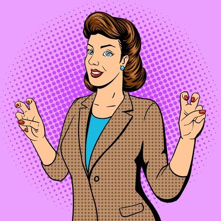 Frau zeigt Zitat Geste Pop-Art-Vektor-Illustration. Retro-Stil. Comic-Stil Nachahmung