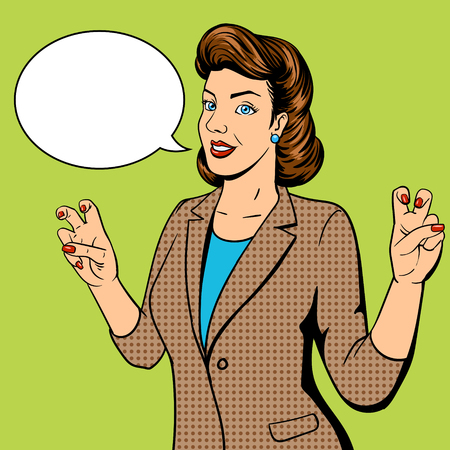 young woman face: Woman shows quote gesture pop art vector illustration. Retro style. Comic book style imitation