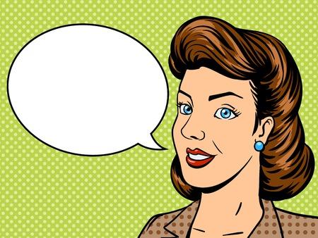 Geschäftsfrau Gespräche Pop-Art-Stil Retro-Vektor-Illustration. Comic-Stil Bijouterie