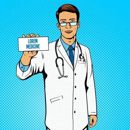 Doctor holding medicine box pop art illustration. Comic book imitation. Ilustrace