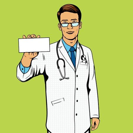 medicine box: Doctor holding medicine box pop art illustration. Comic book imitation. Illustration
