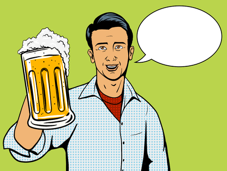 Man offers beer cup pop art style illustration. Comic book style imitation Illustration