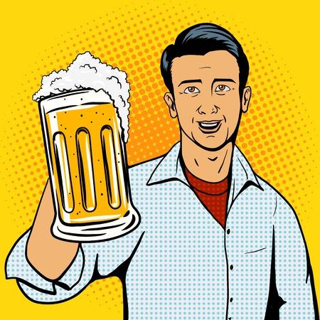 남자는 맥주 컵 팝 아트 스타일 그림을 제공합니다. 만화 스타일의 모방 일러스트