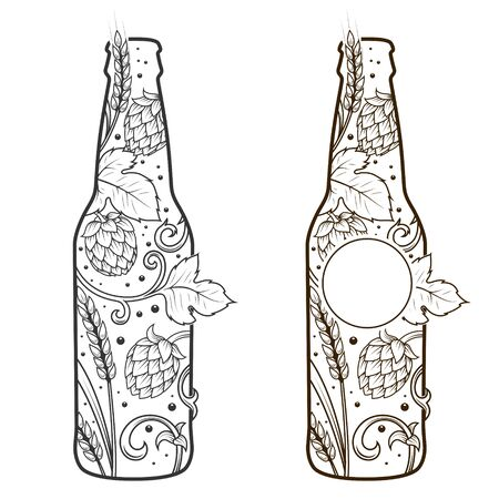vesicles: Beer bottle abstract ornament vector illustration. Engraving style