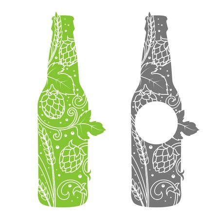 cereal bar: Beer bottle abstract ornament illustration. Engraving style