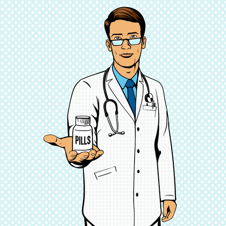 a substance vial: Doctor holding vial with pills pop art illustration. Comic book imitation.