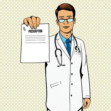 poster art: Doctor holding medical prescription pop art illustration. Comic book imitation.