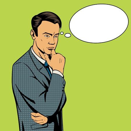 people  male: Man thinking hard pop art style illustration. Comic book illustration