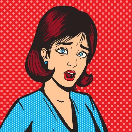 Fille crier pop illustration vectorielle de style art. Comic imitation du livre. Style rétro
