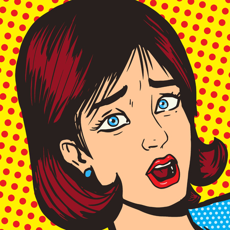 Girl scream pop art style vector illustration. Comic book imitation. Retro style