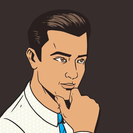 pensive: Man thinking hard pop art style vector illustration. Comic book illustration