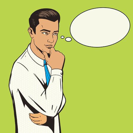 people  male: Man thinking hard pop art style vector illustration. Comic book illustration