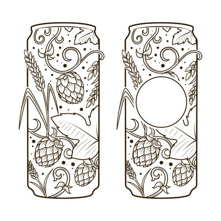 cereal bar: Beer can abstract ornament vector illustration. Engraving style