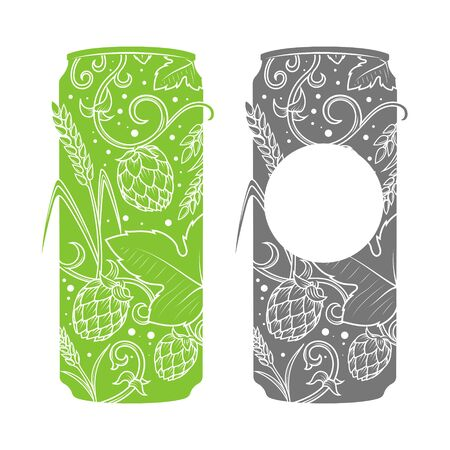 vesicles: Beer can abstract ornament vector illustration. Engraving style