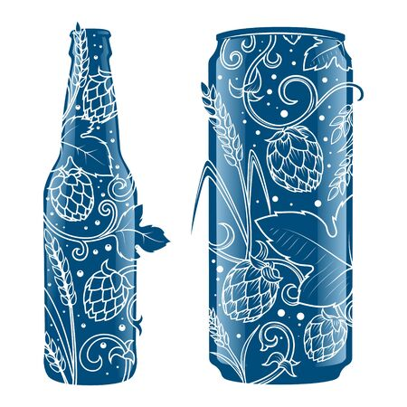 beer can: Beer can and bottle abstract ornament vector illustration. Engraving style Illustration