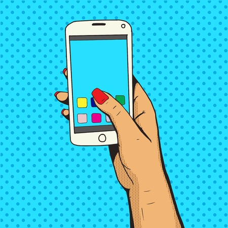 woman cellphone: Female hand with phone pop art vector illustration. Comic book style imitation. Colorful Illustration