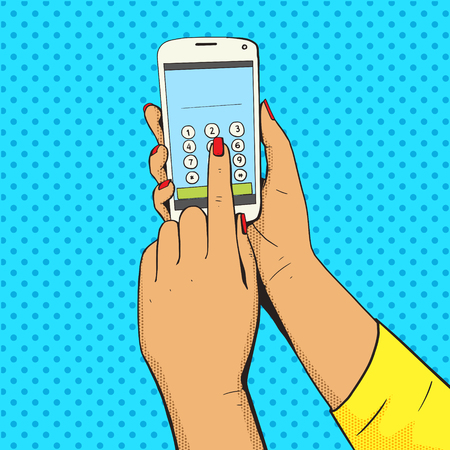 art style: Female hand with phone pop art vector illustration. Comic book style imitation. Colorful Illustration