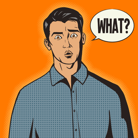 manly: Surprised man pop art retro style vector illustration. Comic book style imitation