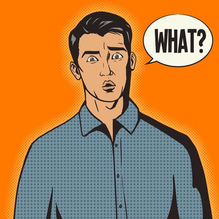 Zaskoczony mężczyzna pop art retro stylu ilustracji wektorowych. Styl komiksowy imitacja
