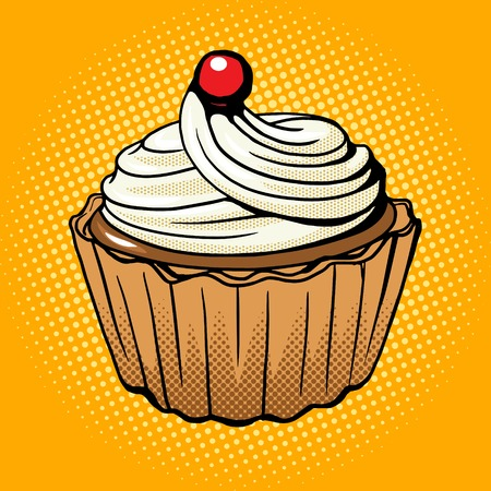 cupcake background: Cake pop art style vector illustration. Comic book style imitation