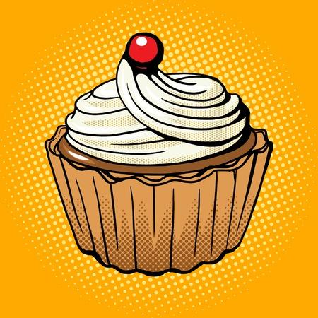 Cake pop art style vector illustration. Comic book style imitation